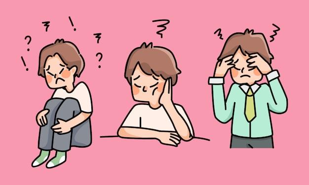 Ragazzo depresso triste fallimento nessuna ispirazione simpatico cartone animato deluso
