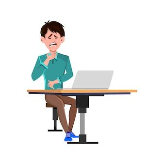 Uomo d'affari depresso che si siede sulla sedia alla scrivania di un computer