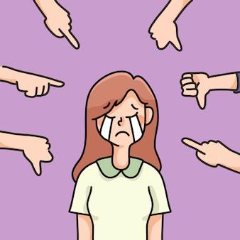 Persona depressa triste fallimento nessuna ispirazione simpatico fumetto illustrazione deluso