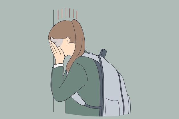 Bambino di depressione bullismo al concetto di scuola