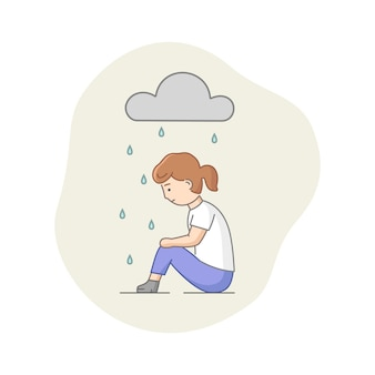 Concetto di depressione. carattere femminile che soffre di depressione. donna triste seduta sotto la pioggia. tempo nuvoloso, occultamento delle emozioni e burnout.