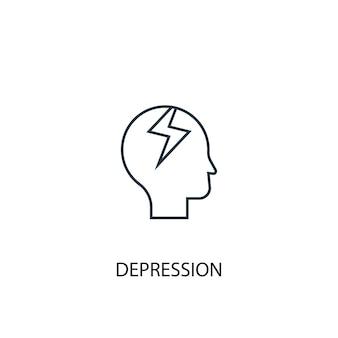 Icona della linea del concetto di depressione. illustrazione semplice dell'elemento. disegno di simbolo di contorno del concetto di depressione. può essere utilizzato per ui/ux mobile e web