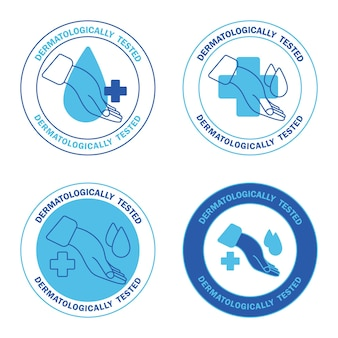 Etichetta dermatologicamente testata con goccia d'acqua e croce icone clinicamente testate