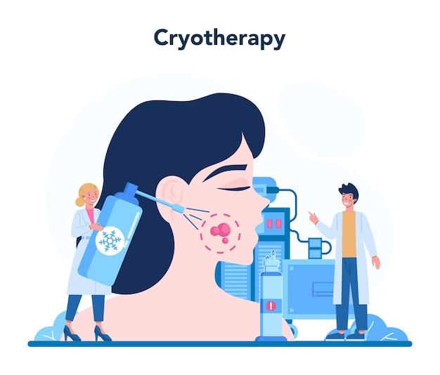 Illustrazione di concetto di dermatologo in stile cartone animato