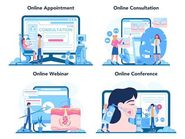 Servizio online di dermatologo o set di piattaforme