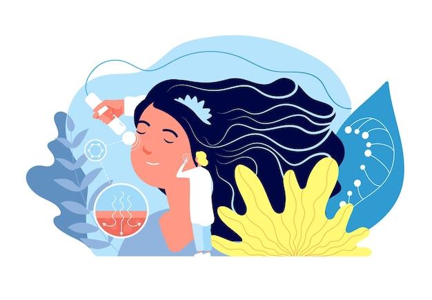 Concetto di dermatologia. trattamento e diagnosi dell'epidermide. illustrazione di vettore di problema della pelle del viso, cosmetologia e chirurgia plastica.
