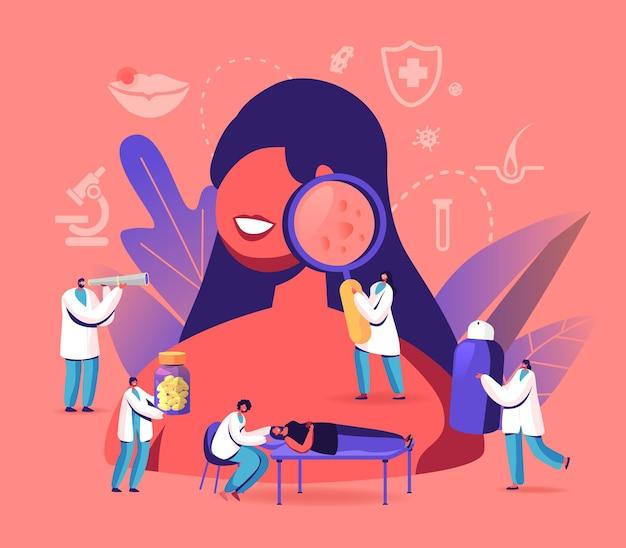 Concetto di dermatologia. personaggi di minuscoli medici intorno a una donna enorme con problemi facciali.