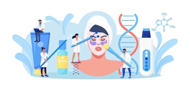 Dermatologia e cosmetologia. massaggio viso, maschera, detersione, lifting viso e collo, trattamento antietà. procedura del salone di cura della pelle e dell'epidermide. paziente e cosmetologo con apparecchiature di bellezza