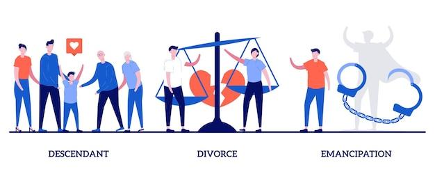 Discendente, divorzio, concetto di emancipazione con persone minuscole. moglie e marito si separano insieme. annullamento del matrimonio, diritti sociali, parità di genere, metafora dei problemi della società.