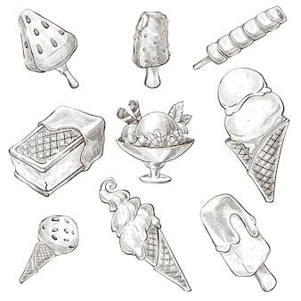Assortimento del deserto, tipi di gelato monocromatico schizzo contorno