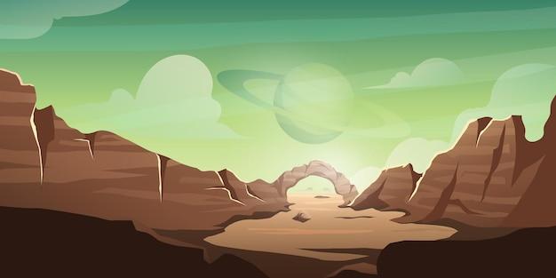 Sfondo del deserto con il pianeta nel cielo, illustrazione della valle della morte