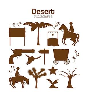 Set di raccolta del deserto Vettore Premium