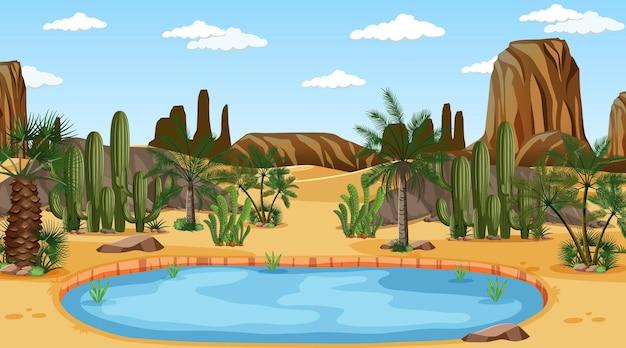 Paesaggio della foresta del deserto alla scena di giorno con oasi
