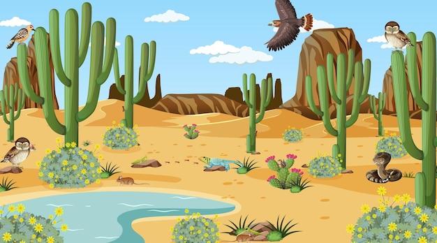 Paesaggio della foresta del deserto in scena diurna con animali e piante del deserto Vettore Premium