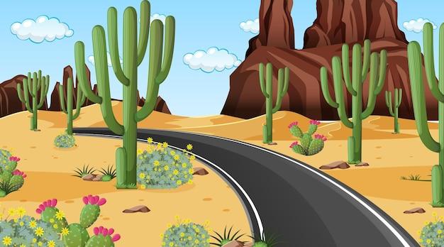 Paesaggio della foresta del deserto in scena diurna con una lunga strada