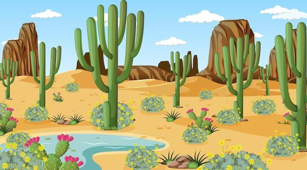 Paesaggio della foresta del deserto alla scena diurna con molti cactus