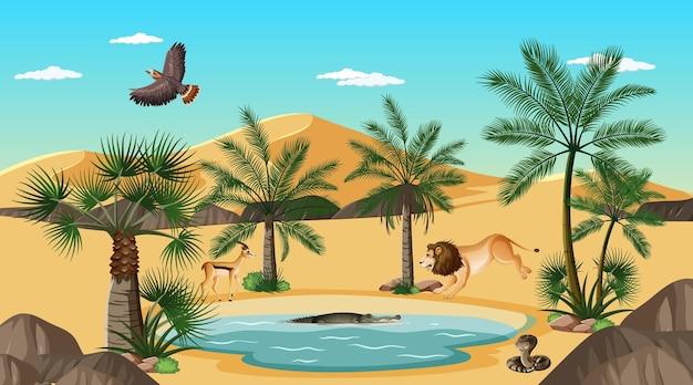 Paesaggio della foresta del deserto in scena diurna con animali volitivi