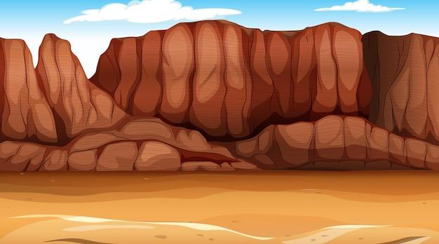 Paesaggio della foresta del deserto nella scena diurna Vettore Premium