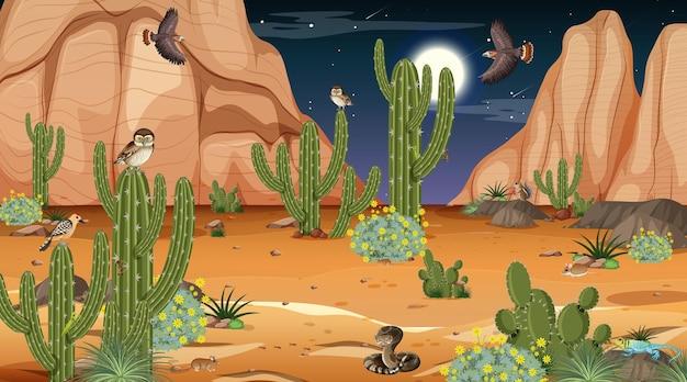 Paesaggio della foresta del deserto di notte con animali e piante del deserto