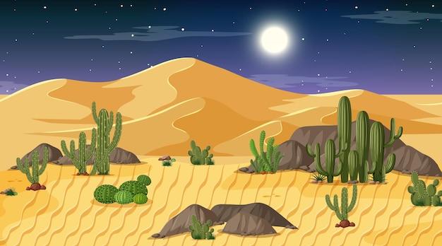 Paesaggio della foresta del deserto alla scena notturna
