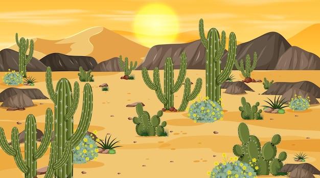 Scena del paesaggio della foresta del deserto all'ora del tramonto