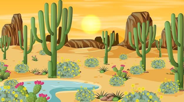Paesaggio della foresta del deserto alla scena del tramonto con oasi
