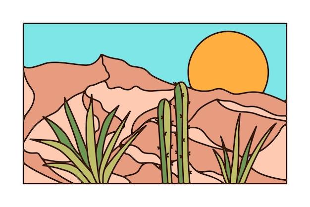 Disegno minimo del paesaggio del deserto con il cactus