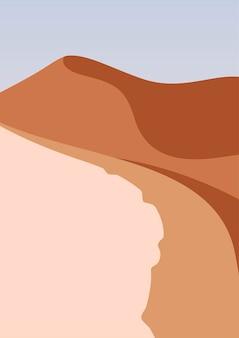 Paesaggio desertico in formato verticale, colori beige caldi. illustrazione di vettore di montagne. paesaggio astratto con spazio per il testo.