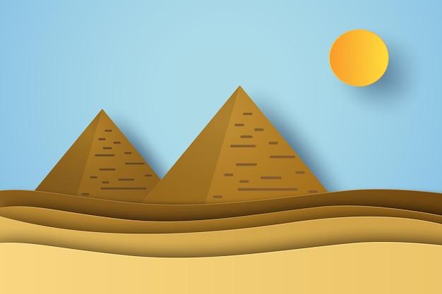 Paesaggio del deserto con piramidi egiziane in stile arte cartacea