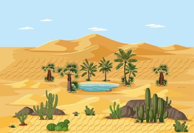 Paesaggio del deserto con scena di elementi dell'albero della natura
