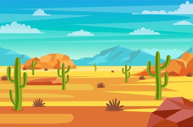Paesaggio desertico. Vettore Premium