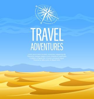 Paesaggi desertici con dune di sabbia gialla, montagne blu e cielo enorme.