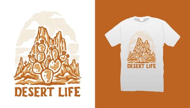 Illustrazione del cactus della vita nel deserto