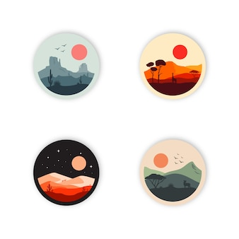Insieme dell'illustrazione di progettazione di logo del deserto