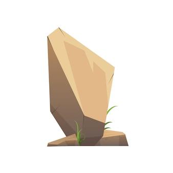 Pietra o roccia del deserto isolata su fondo bianco.