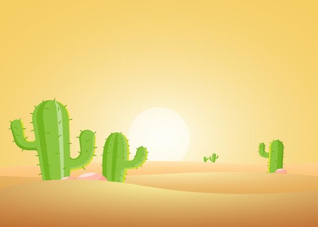 Paesaggio al tramonto del deserto con cactus.