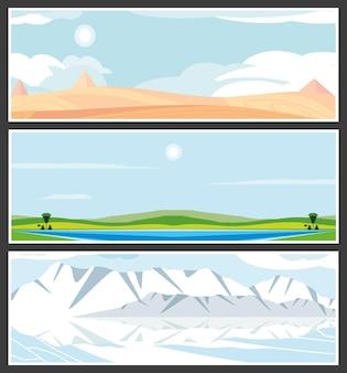 Set di paesaggi nel deserto e nel verde invernale