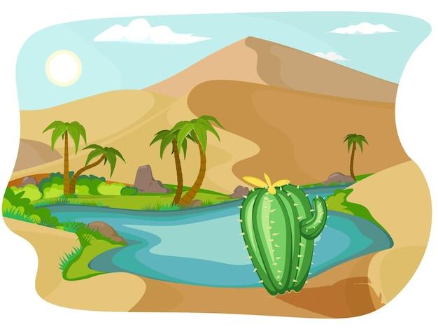 Deserto con oasi. miraggio. oasi di scena del paesaggio