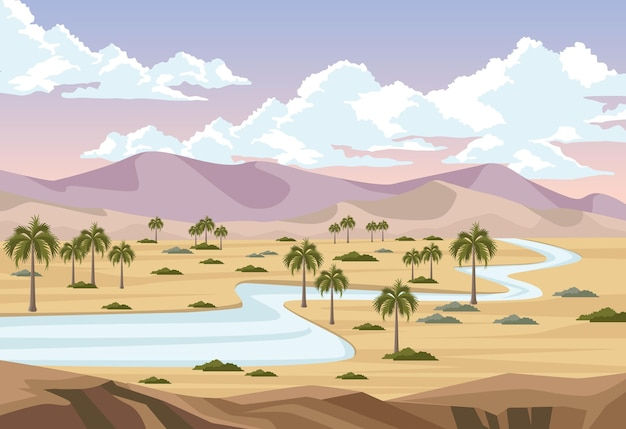 Deserto con fiume