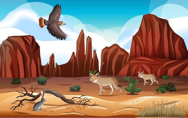 Deserto con montagne rocciose paesaggio di animali del deserto alla scena del giorno