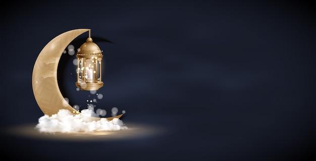 Design lanterna vintage in oro arabo, luna crescente dorata.