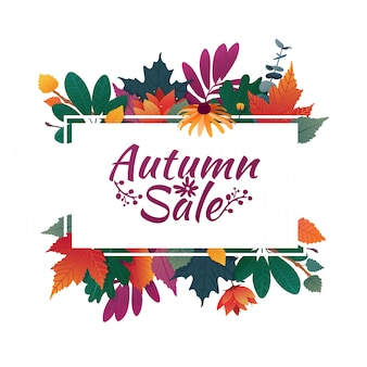 Banner di design con logo di vendita autunnale. carta sconto per la stagione autunnale con cornice bianca ed erba