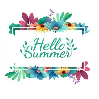 Banner di design con logo happy summer. carta per la stagione estiva con cornice bianca ed erba. offerta promozionale con decorazioni estive di piante, foglie e fiori.
