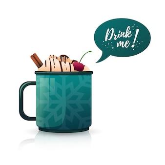 Disegna uno striscione con una bevanda calda bevimi