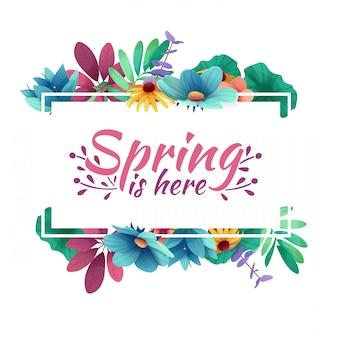 Banner di design con la primavera è qui il logo. carta per la stagione primaverile con cornice bianca ed erba. offerta promozionale con decorazione di piante, foglie e fiori primaverili.