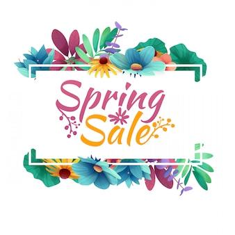 Banner di design con logo di vendita di primavera. carta sconto per la stagione primaverile con cornice bianca ed erba. offerta promozionale con decorazione di piante, foglie e fiori primaverili.