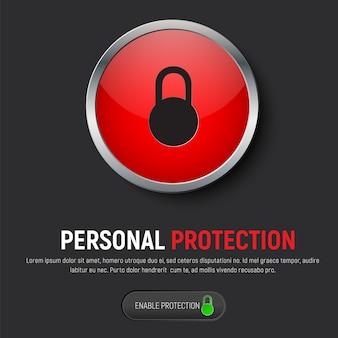 Progettazione di un banner web nero con un pulsante rotondo rosso e un'icona di un lucchetto chiuso a cerniera.