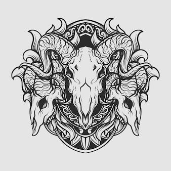 Ornamento di incisione teschio di capra disegnato a mano design bianco e nero