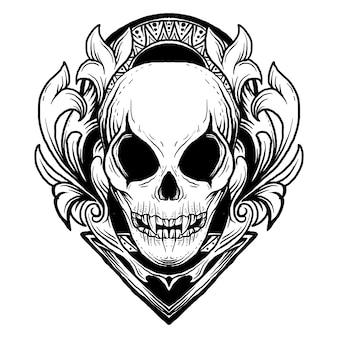 Disegno in bianco e nero illustrazione disegnata a mano cranio alieno incisione ornamento