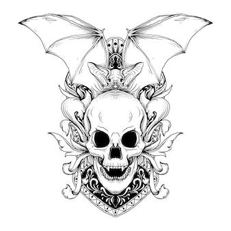 Disegno in bianco e nero illustrazione disegnata a mano pipistrello e teschio con ornamento incisione